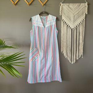 Lounge Around | Pastel Stripe House Dress sz Small